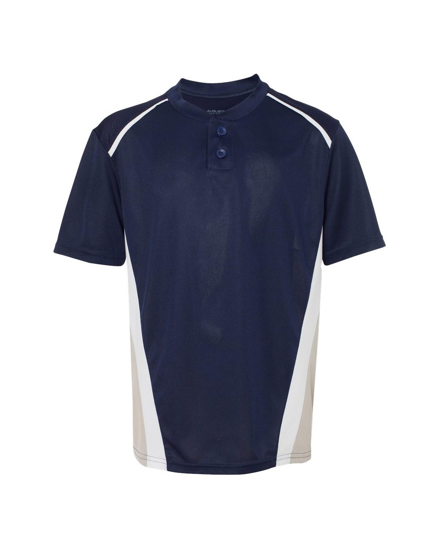 1526 Augusta Sportswear Navy/ Silver Grey/ White