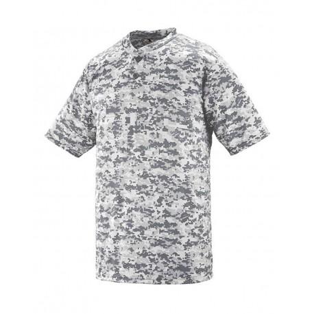 1556 Augusta Sportswear 1556 Youth Digi Camo Wicking Two-Button Jersey WHITE DIGI
