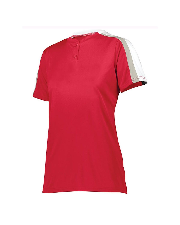 1559 Augusta Sportswear Red/ White/ Silver Grey