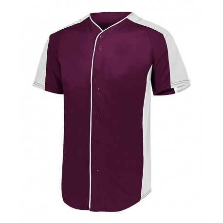 1655 Augusta Sportswear 1655 Full Button Baseball Jersey MAROON/ WHITE