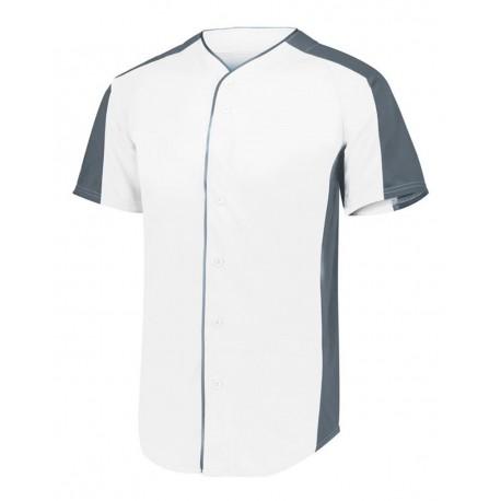 1656 Augusta Sportswear 1656 Youth Full Button Baseball Jersey WHITE/ GRAPHITE
