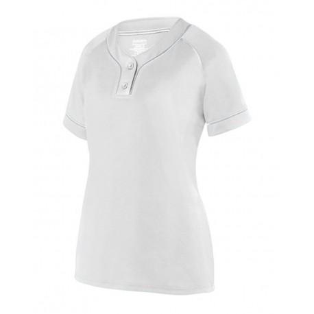 1671 Augusta Sportswear 1671 Girls' Overpower Two-Button Jersey WHITE/ SILVER