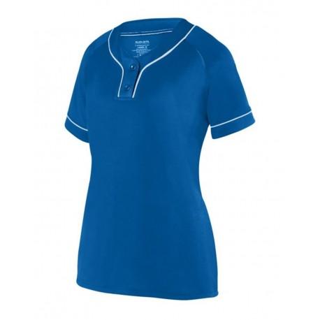 1671 Augusta Sportswear 1671 Girls' Overpower Two-Button Jersey ROYAL/ WHITE