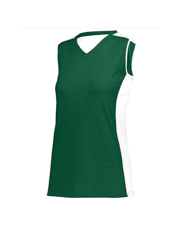 1677 Augusta Sportswear Dark Green/ White/ Silver Grey