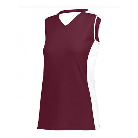 1677 Augusta Sportswear 1677 Girls' Paragon Jersey Maroon/ White/ Silver Grey