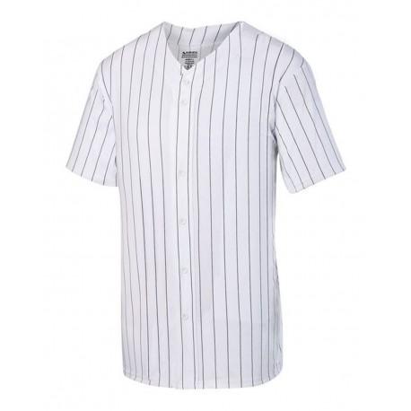 1685 Augusta Sportswear 1685 Pinstripe Full Button Baseball Jersey WHITE/ BLACK