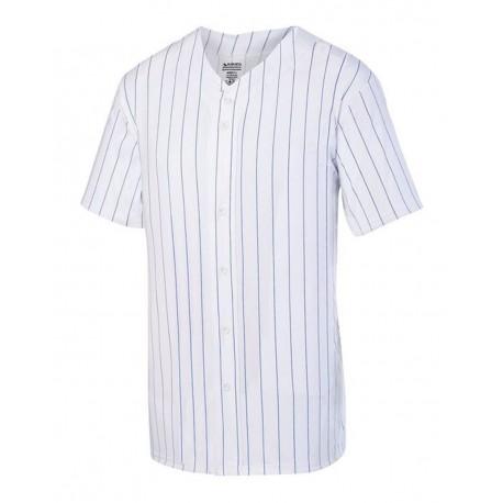 1686 Augusta Sportswear 1686 Youth Pinstripe Full Button Baseball Jersey WHITE/ ROYAL