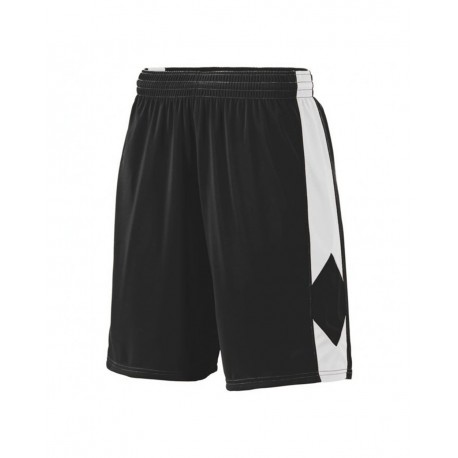 1716 Augusta Sportswear 1716 Youth Block Out Shorts BLACK/ WHITE