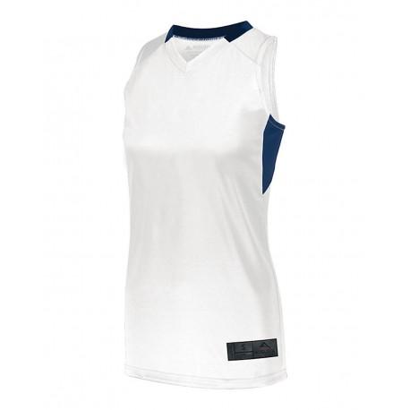 1732 Augusta Sportswear 1732 Women's Step-Back Basketball Jersey WHITE/ NAVY