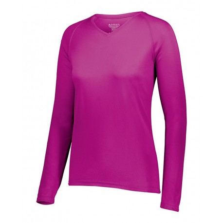 2797 Augusta Sportswear 2797 Women's Attain Wicking Long Sleeve Shirt POWER PINK