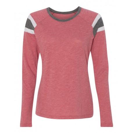 3012 Augusta Sportswear 3012 Women's Long Sleeve Fanatic T-Shirt Red/ Slate/ White