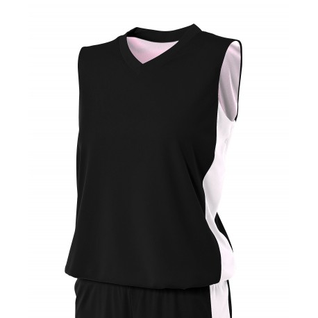 A4NW2320 A4 A4NW2320 Ladies Reversible Side Stripe Sleeveless Jersey BLACK/WHITE