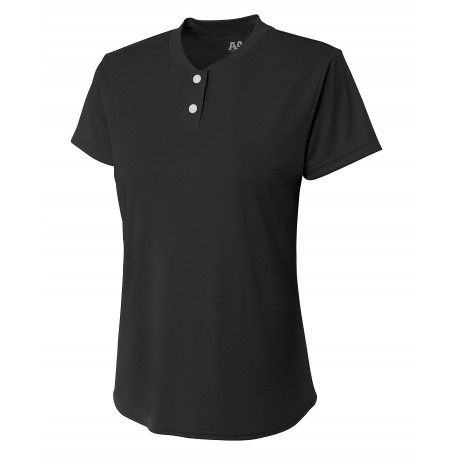 A4NW3143 A4 A4NW3143 Ladies Two Button Tek Henley BLACK