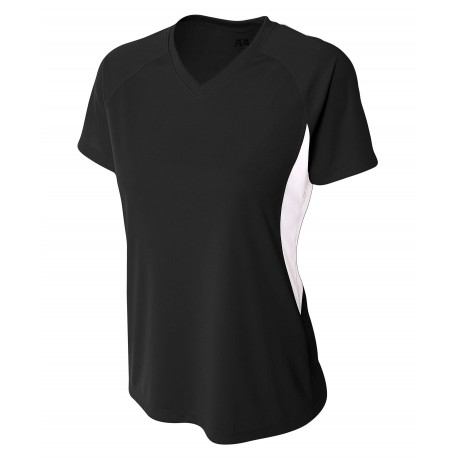 A4NW3223 A4 A4NW3223 Ladies Cooling Performance Color Block Tee BLACK/WHITE