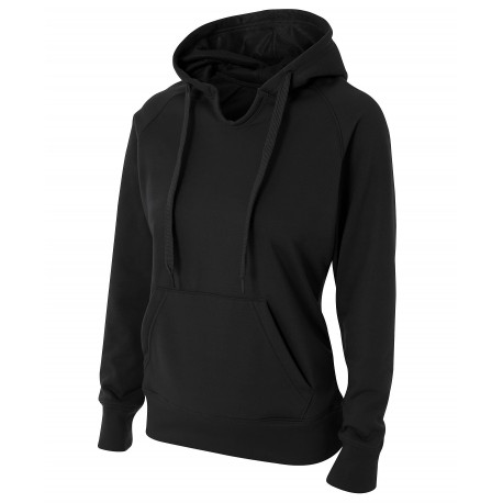 A4NW4245 A4 A4NW4245 Ladies Solid Tech Fleece Hood BLACK